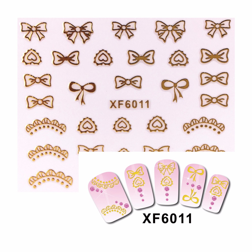 LCJ 3D Nail Stickers Beauty Gold Design Brand Nail Art Charms Manicure Bronzing Decals Decorations Tools 6011(China (Mainland))