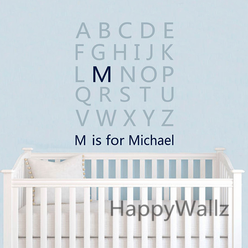 Baby nursery custom name letters wall sticker diy alphabet for Wall letters kids room