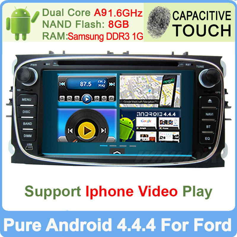 A9 Dual Core 1.6Ghz Pure Android 4.4.4 Car DVD For Ford Focus Mondeo with Gps Navigation Navigation Radio RDS Video Player(China (Mainland))