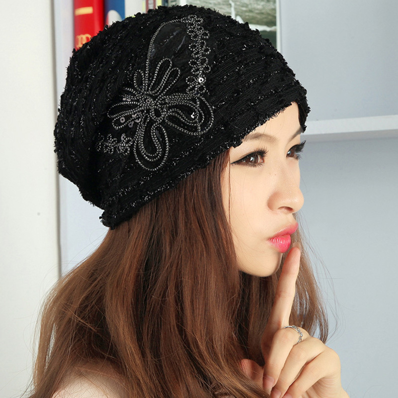 Beanies Knitted Winter Hat Warm Ski Caps Winter Hats For Women Ladies Casual Brand Outdoor Sports Skullies Beanie Lace 2015 Cap(China (Mainland))