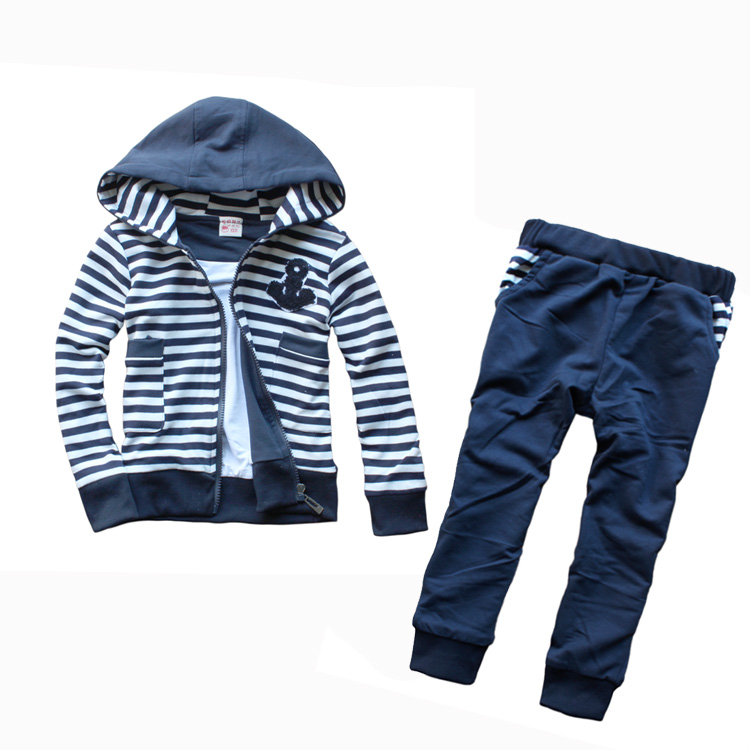 2014 New Hot Sale Jackets Regular Striped Zipper Fashion Boys Full Set Male Child Stripe Children's Clothing Spring 100% Cotton(China (Mainland))