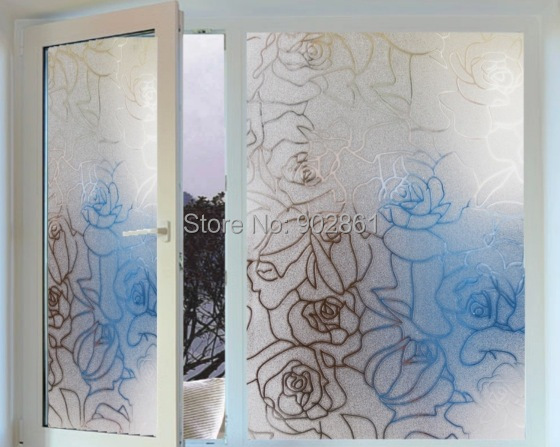 Funlife 45x100cm 17.7x39.3 in Homeartist Roses Glass Decorative Frosted Privacy Window Film Self Adhesive Static Cling wp1023(China (Mainland))