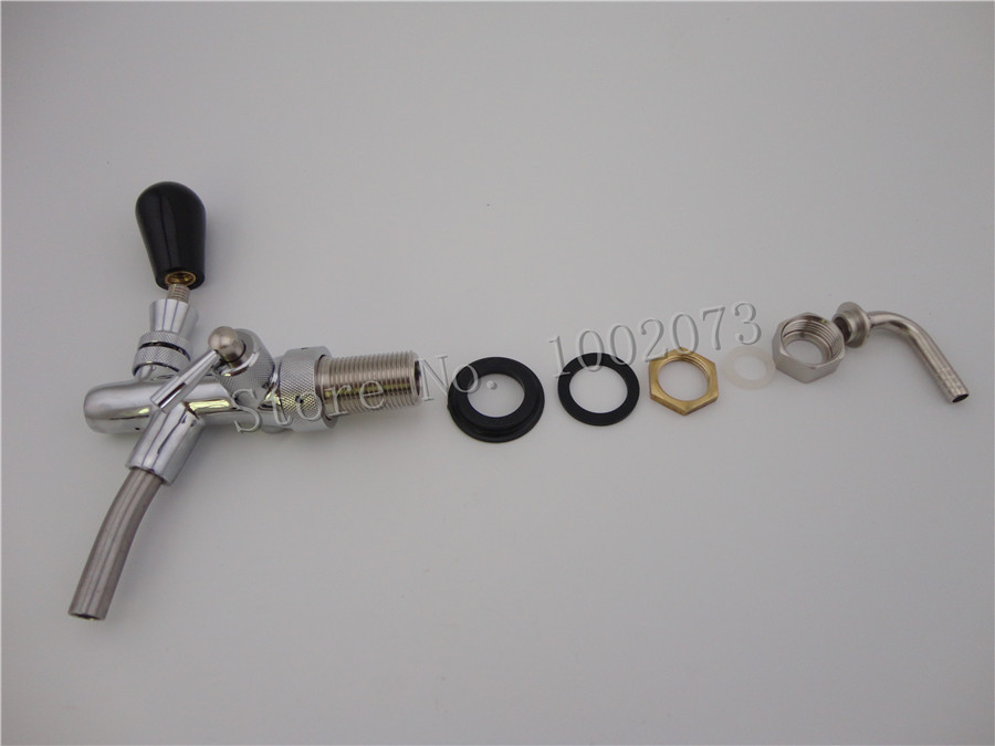 Kegerator Draft Beer Faucet with Flow Controller chrome plating Shank Tap Kit for homebrew making tap (2)