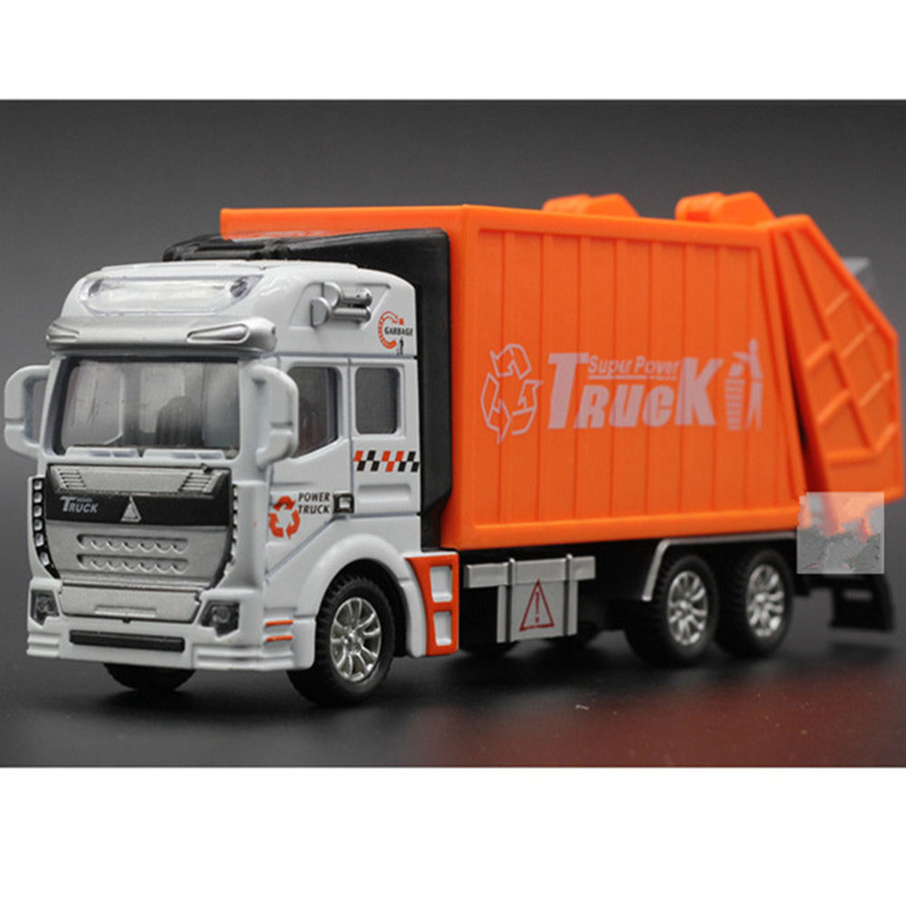 1:32 Alloy Sanitation Engineering Vehicle Simulation Garbage Truck Model Gift for Children Toys, with 1pc Rubbish Bin WJ-185(China (Mainland))