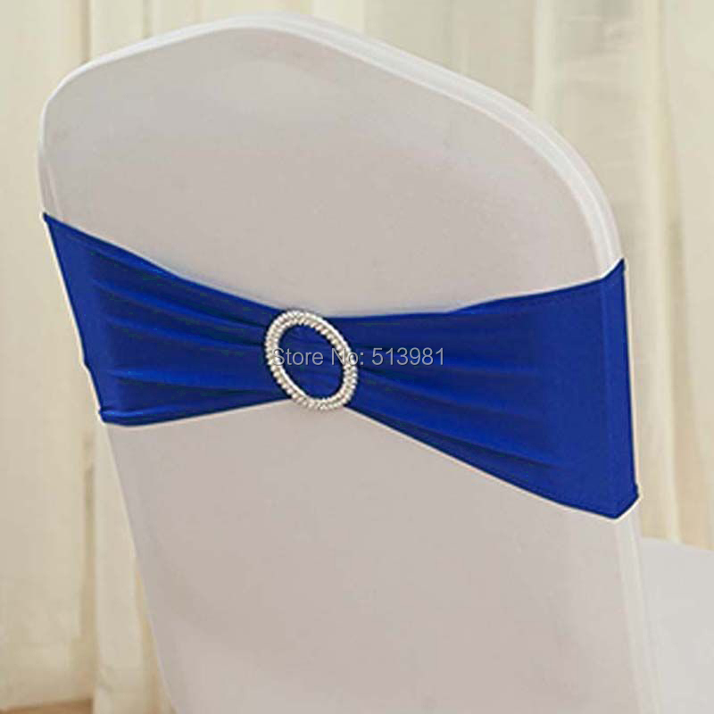 100pcs High Quality #4 royal blue Spandex chair band with buckle/ spandex sash/chair sash for chair cover wedding decoration(China (Mainland))