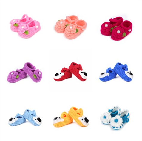 New Newborn Baby Infant Girls boys Crochet Knit Cute Socks Crib Casual Shoes First Walkers 0-12M Kids Children Flower Bear shoes(China (Mainland))