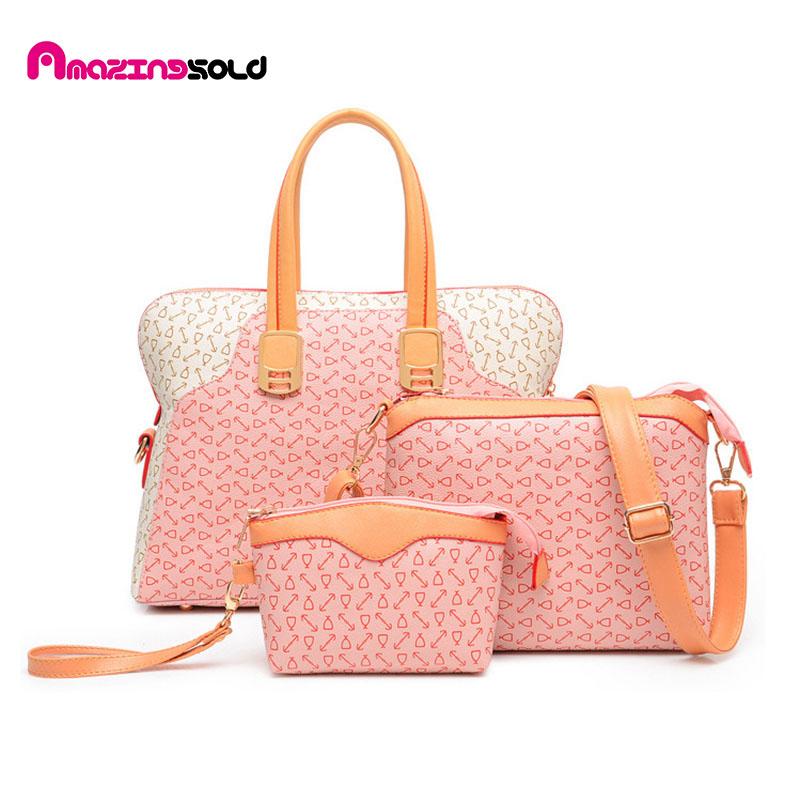Fresh Soft Women Bags Pu Leather Bags Handbags Famous Brands Totes 3 Set/Pcs Handbag + Messenger/Crossbody Bags + Bolsa<br><br>Aliexpress