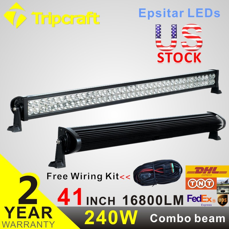 FREE Wiring Kit 42 Inch 240W LED Driving Light Bar for Off Road Indicators Work Driving Offroad Boat Car Truck 4x4 SUV ATV Combo(China (Mainland))