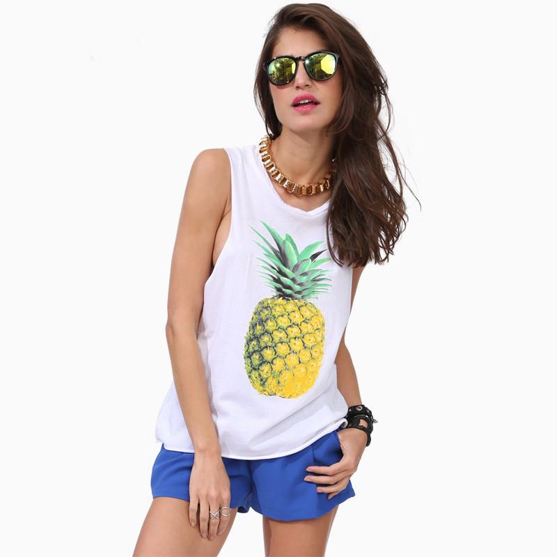 Summer Women Pineapple Cotton fiber t shirt camiseta feminina solid Sleeveless Regular Sexy Vest lady Shirt Tops blusasclothing(China (Mainland))