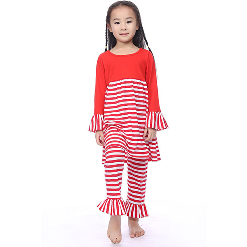 Latest 2015 Christmas Girls Winter Outfits Red Cotton Long Sleeve Fall Toddlder Clothing Set Christmas Party Baby Kids Clothing(China (Mainland))