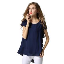 Buy M L XL XXL 3XL 4XL 5XL Plus Size chiffon blouse 2017 Summer O Neck short sleeve casual shirts Yellow Navy White Black women tops for $17.85 in AliExpress store