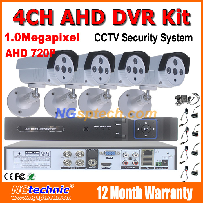 HD 720P 1MP HDMI CCTV System 4CH Audio Full 1.0Megapixel AHD DVR Kit with Outdoor waterproof ir night vision AHD Security Camera<br><br>Aliexpress