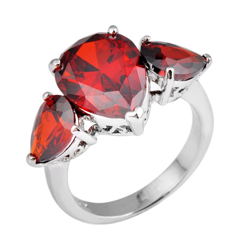 Cute Sweet Heart Red Ruby Jewelry Sz5 6 7 8 9 10 Women Men Wedding Ring