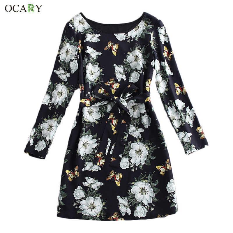 Luxury Vintage Floral Print Dress With Sashe Elegant Women Office Dress High-ended Mini Dress 2016 Spring Plus Size XL VestidosОдежда и ак�е��уары<br><br><br>Aliexpress