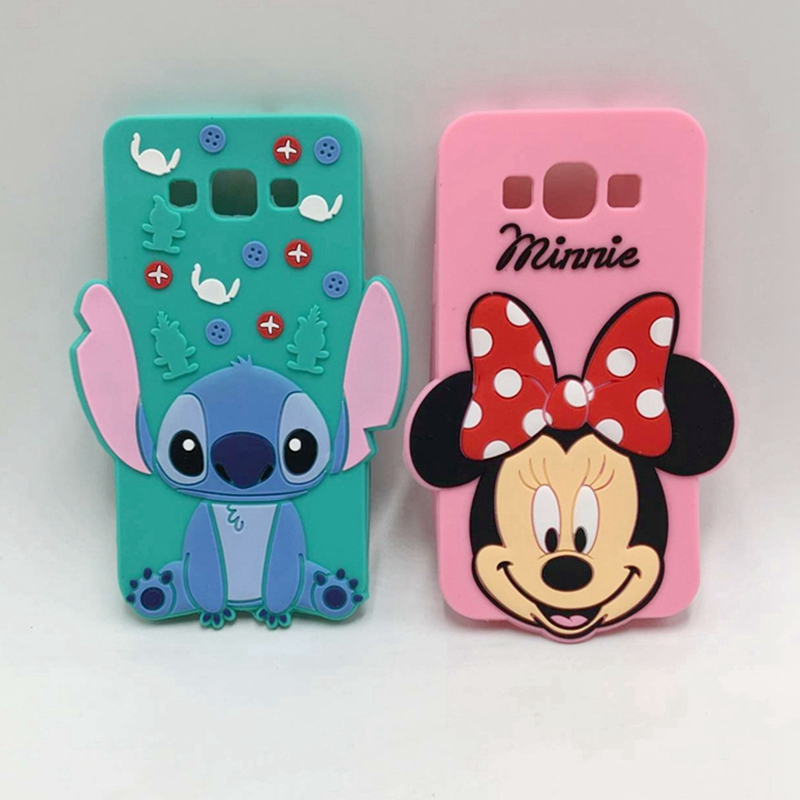 New Lovely 3D Cartoon Head Stitch Minnie Mouse Hello Kitty Silicone Case For Samsung Galaxy J5 J500F J7 J700F Phone Back Cover(China (Mainland))