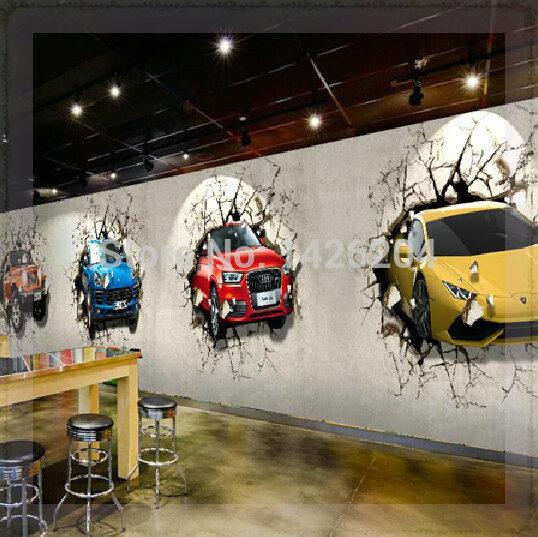 Great wall custom 3d car broken wall mural wallpaper for Cars wallpaper mural