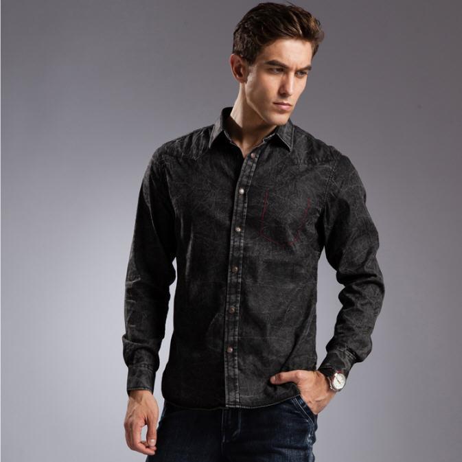 Buy blue denim shirt men 100 cotton for Buy denim shirts online