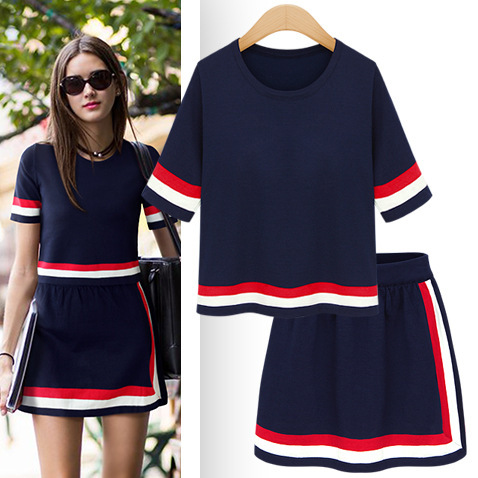 Vancol Brand Runway 2 Piece Set Women Soft Knitted O Neck Short Sleeve Tops Office Sets Summer Pencil Mini Bandage Skirt and Top(China (Mainland))