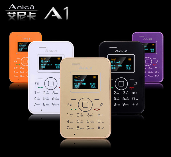 2015 New Anica A1 Mini Emergency Card Phone With OLED Display Backup Wallet Phone 6.5mm Ultrathin Low Radiation Mobile Phone M2(China (Mainland))