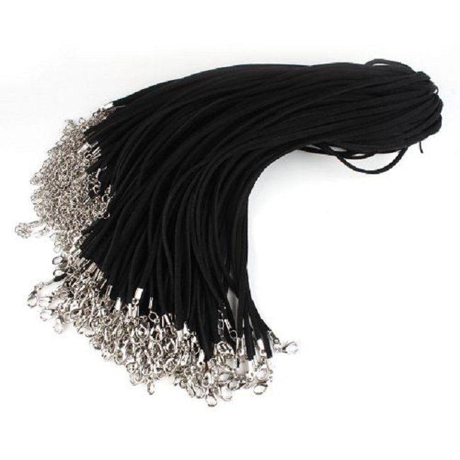 30pcs/lot Black Korean Velvet Lobster Clip Necklace Cord Findings 48cm 130006(China (Mainland))