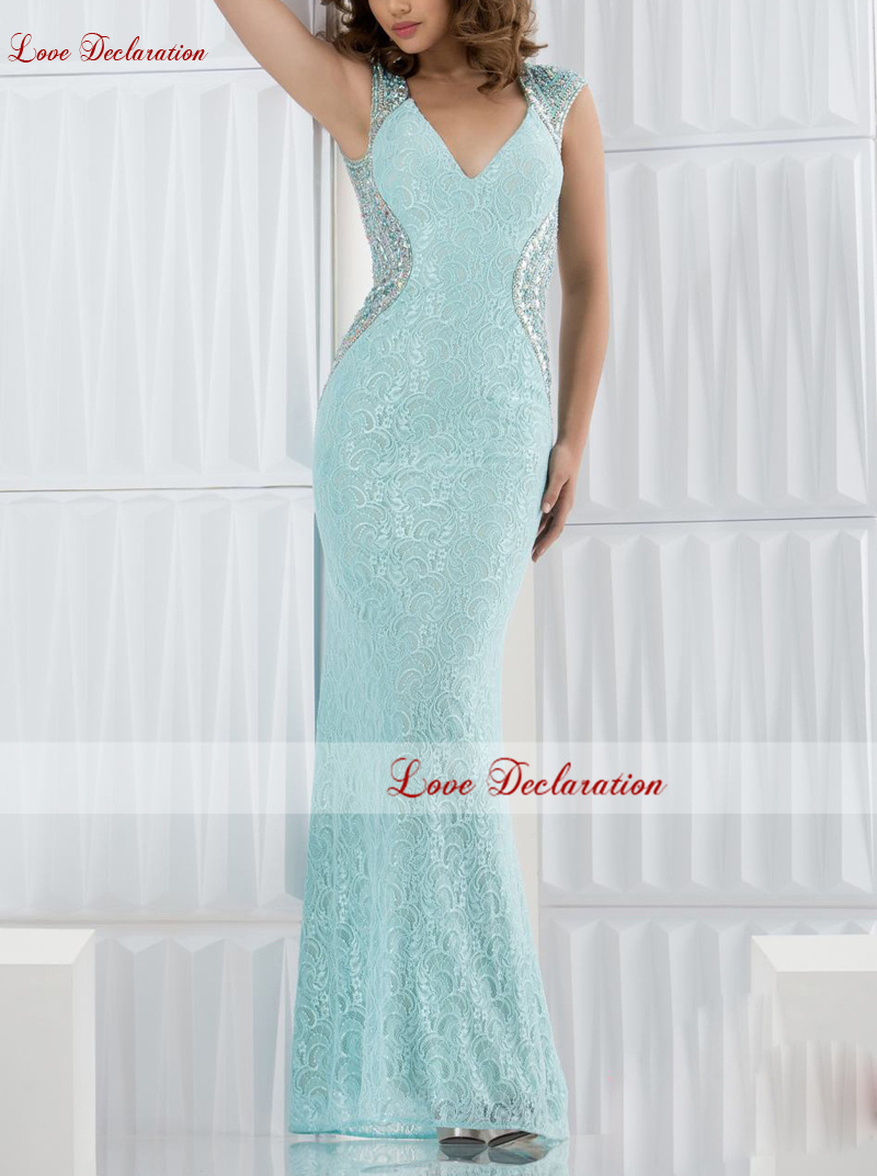 2016 Sexy Offers V-neckline With Beaded Shoulder Straps Cascade Sides Back Open Showing Off Your Lovely Allure Prom Dresses Gown(China (Mainland))