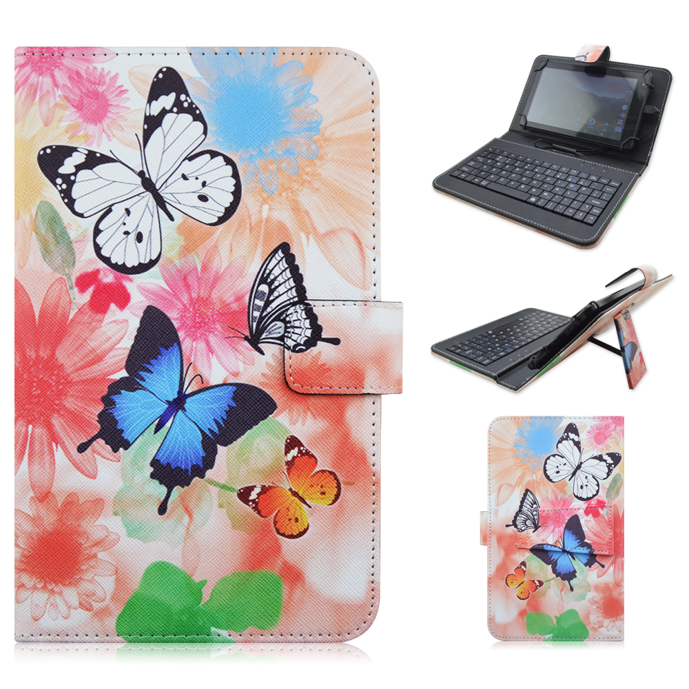 3931 PU Leather Material Stand Case with Micro USB Interface Keyboard for 7-8 inch Tablet PC(China (Mainland))
