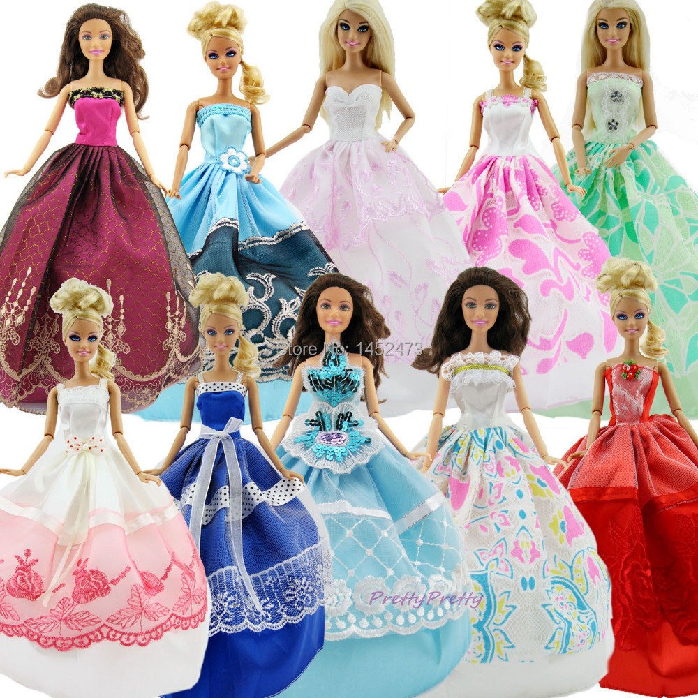 Lot 15 Pcs = 5 Wedding Dress Princess Gown + 10 Pairs of Shoes Clothes For Barbie Doll Gift Set(China (Mainland))