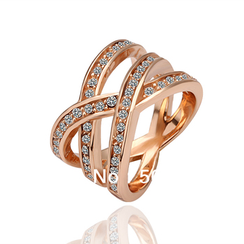 SQ18KRGPR001/Princess Noble Style 18K Rose Gold Filled Cz Rhinestone Miss Me Ring ,Gold Pinky Jewelry For Women and Men Items