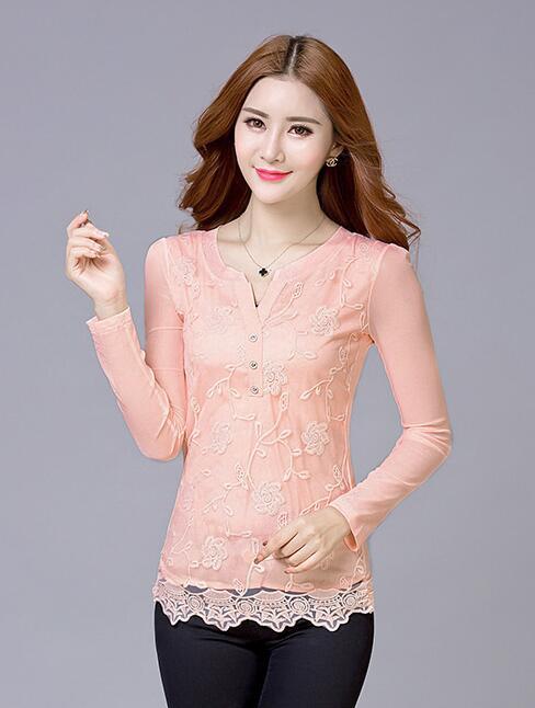 2015 Fashion Women V Neck Chiffon Blouses Sexy Plus Size Lace Shirt Long sleeve Solid Pattern Female Blusas Femininas M-3XL(China (Mainland))
