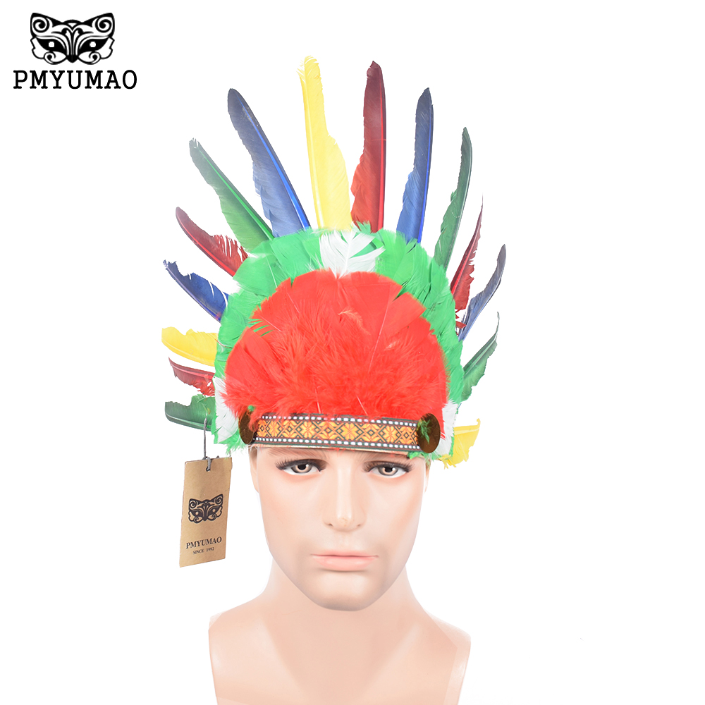 Indian Chief Feather Hat Hand Made Dance Decoration Indian Headdress Feather Props Fancy Dress Props(China (Mainland))