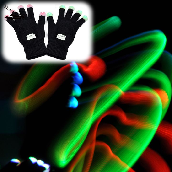 2014 New 7 Mode LED Rave Flashing Gloves Shinning Gloves Glow Light Up Finger Lighting Black Z(China (Mainland))