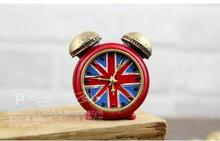 English style British flag tire alarm clock fashion creative wall clock retro seat Continental desktop clock(China (Mainland))