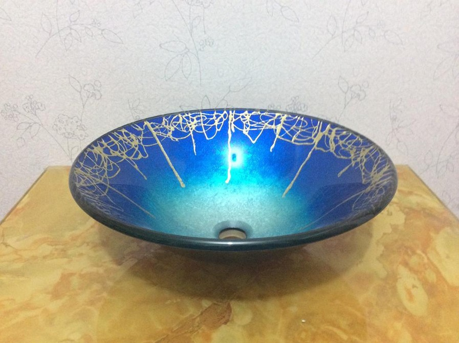4270 2 Blue Colorful Round Construction Real Estate Bathroom Countertop Sinks Art Washbasin Tempered Glass Vessel