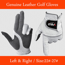 Free Shipping Genuine Leather Golf Gloves Men's Left Right Hand Soft Breathable Pure Sheepskin Golf Gloves Golf accessories(China (Mainland))