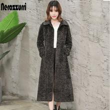 Nerazzurri Musim Dingin Panjang Bulu Imitasi Mantel Wanita Lengan Panjang Turn-Down Kerah Ukuran Palsu Karakul Mantel Bulu dengan belt 5XL 6XL 7XL(China)