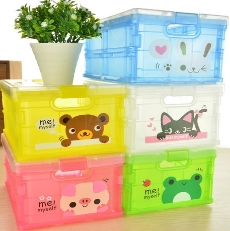Folding clothes children's room covered storage box toy sorting Cabernet cartoon plastic - angel shan store