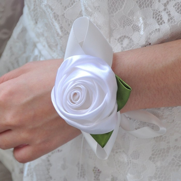 White color rose flowers wrist flower wedding decorations 1 - Yiwu Zilue Trading Co.,Ltd Store store