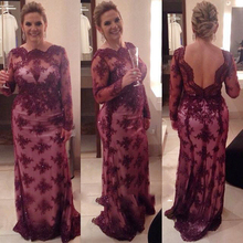 New Burgundy Lace Long Sleeve Mother Of The Bride Dress Appliques Beads Evening Gown(China (Mainland))