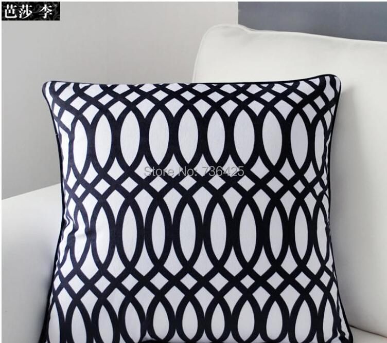 High Quality 45cmx45cm ecorative Black & White Geometric Cushion Cover-B(China (Mainland))