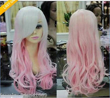 Wholesale& heat resistant LY free shipping>>>New wig Heat Resistant Cosplay Long White Pink Mixed Curly women's Wig
