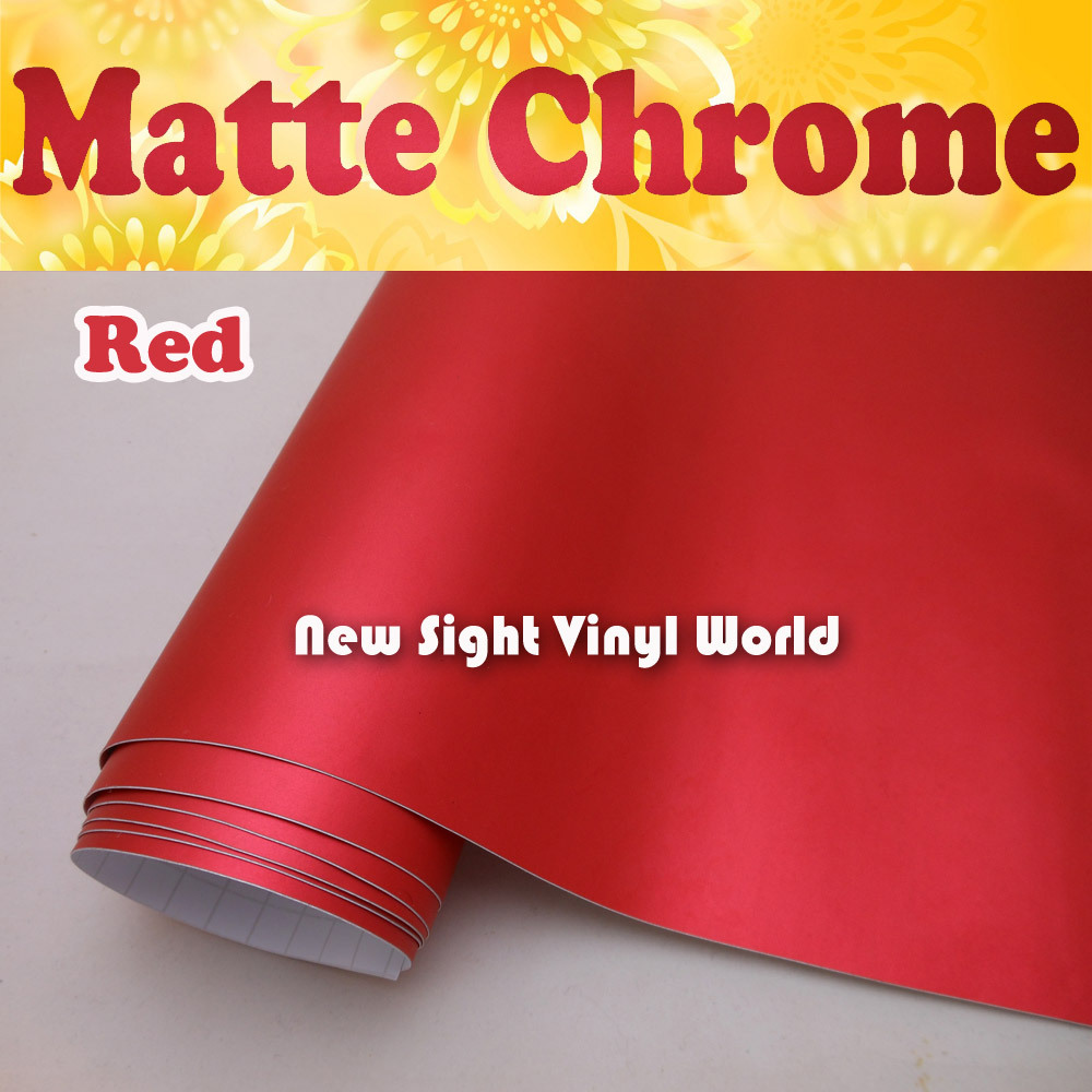 High Quality Matte Satin Chrome Red Vinyl Red Satin Chrome Wrap Film Air Free Bubble For Car Decals Size:1.52*20M/Roll<br><br>Aliexpress