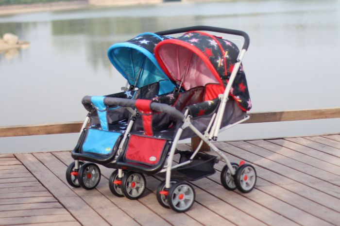 Twins Baby Stroller,Stroller Size: 95*22*76CM,Oxford Cloth Awnings,the Design Concept of High Landscape,5 Optional Color<br>