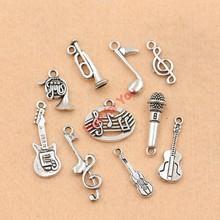 Mixed Tibetanisches Silber Überzogene Musik Hinweis Gitarre Trompete Band Charme Anhänger Schmuck Machen Zubehör DIY m049(China (Mainland))