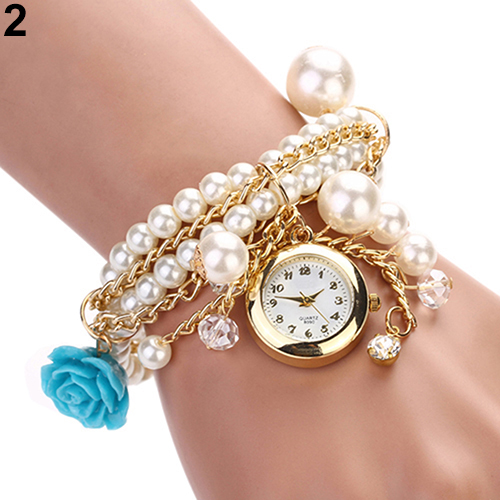 Women Watches Rose Flower Design Faux Pearl Round Dial Analog Quartz Bracelet WristWatches 1RB9 - Fan's Jewerly Store store