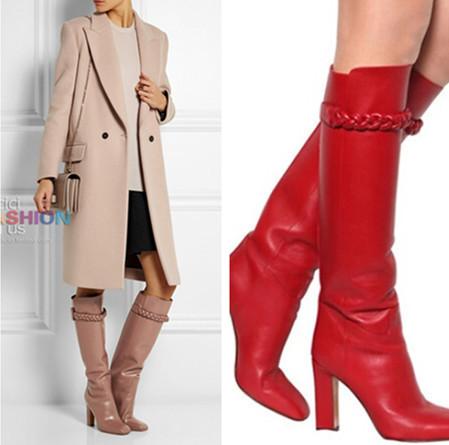 Бренд , как правило , шипы высокая высокие каблуки 4 цвета колено высокая сапоги квадратный каблук зима сапоги обувь женщина платформа дизайн для мотоцикла