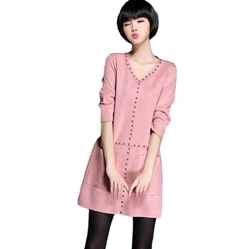 2016 New Fashion Rivet Loose Women Dresses Casual Synthetic Leather Suede Dress Spring Autumn Plus Size Vestidos de fiesta ZJ119(China (Mainland))