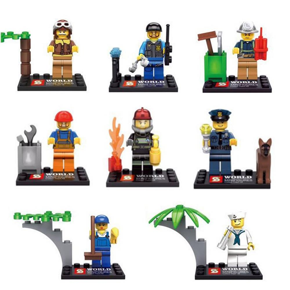 8pcs/lot Moive Different Occupations Kid Baby Toy Mini Figure Building Blocks Sets Model Toys Minifigures Brick<br><br>Aliexpress