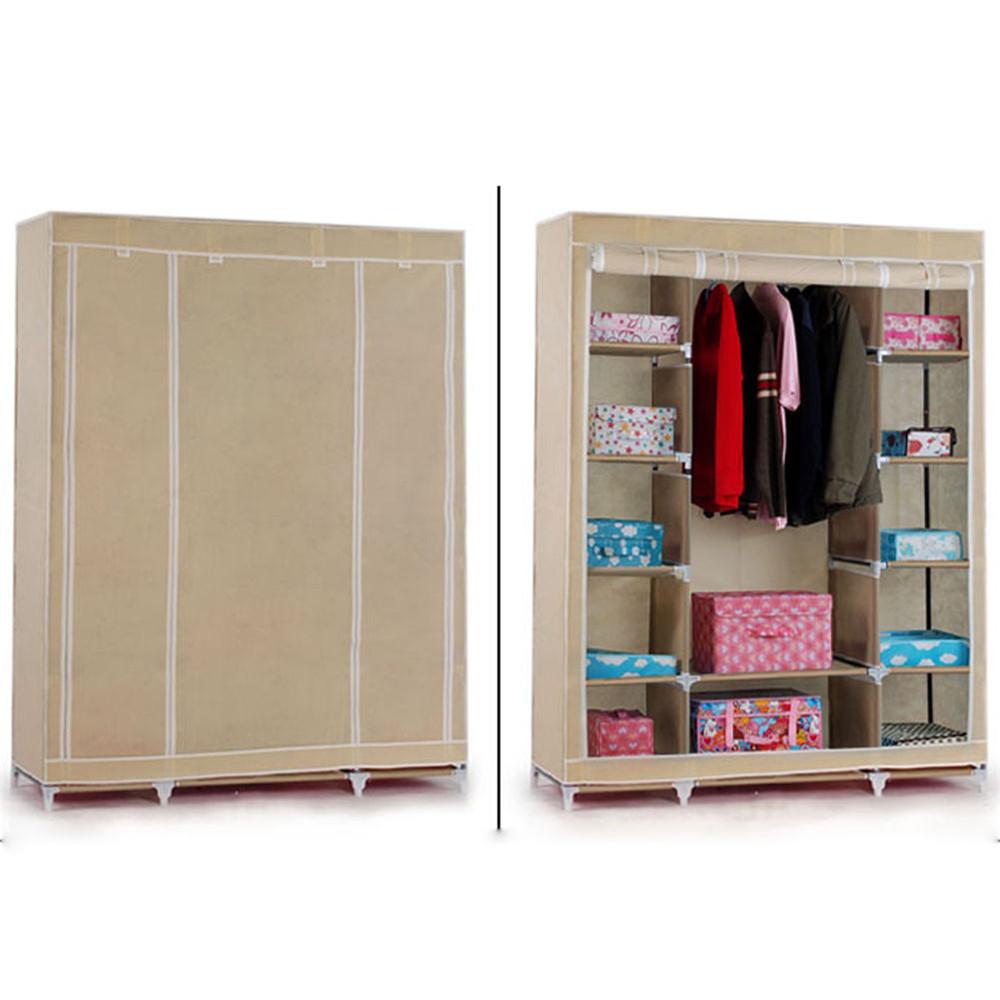 1Pc  Home Furniture Triple Multiple Canvas Storage Wardrobe WIth Hanging Rail Storage Beige<br><br>Aliexpress