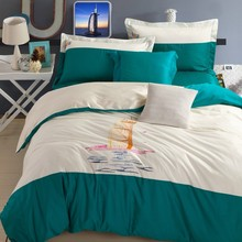 Dubai Burj Al Arab Hotel bedding set 100% cotton embroidery green white bed cover bed sheet pillow cases building bedlinen B5046(China (Mainland))