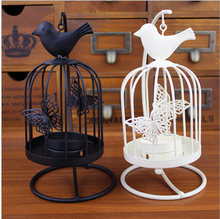 Free shipping fashion creative white birdcage iron candlestick candle holder hang on the tree or wall Home decoration wholesale(China (Mainland))